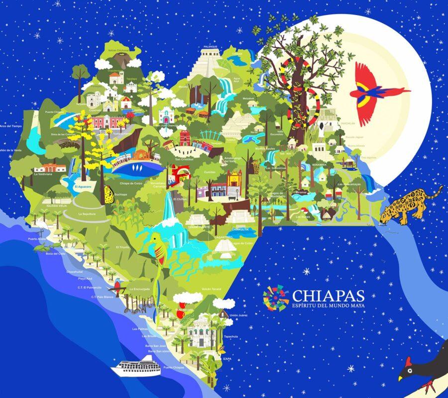 Mapa de Lugares Turísticos de Chiapas